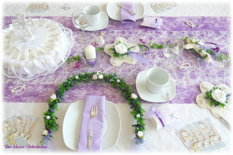 Details zu Tischdeko Set flieder lila weiss Kreuz Kommunion ...